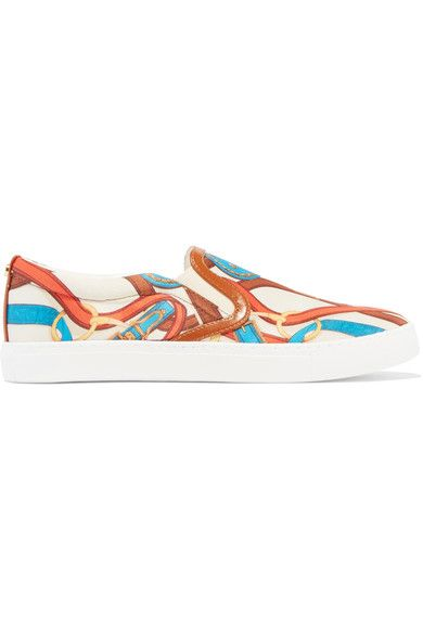 Sam Edelman - Pixie Faux Leather-trimmed Printed Satin Sneakers - White - US
