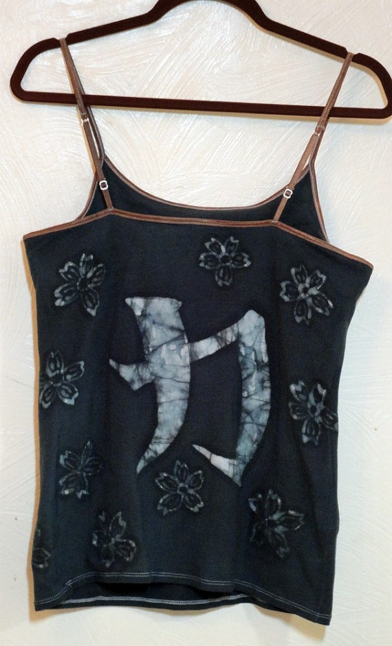 Black batik camisole tank with built in bra hand by waxartistic, $20.00: Built Ins, Artistic Etsy, Wax Artistic, Batik Camisole, Waxartistic