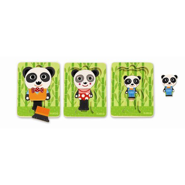 Háromrétegű puzzle panda család DJ01471