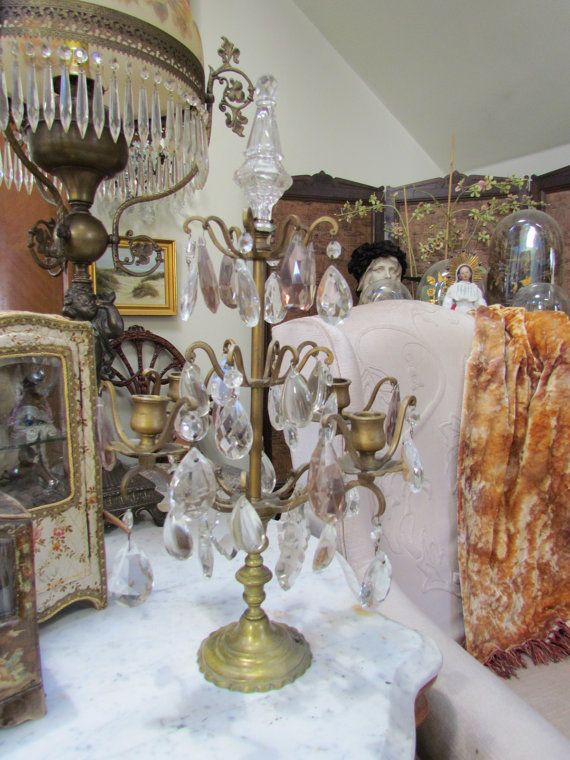 Antique French Crystal Girandole Candelabra With by VannasArmoire