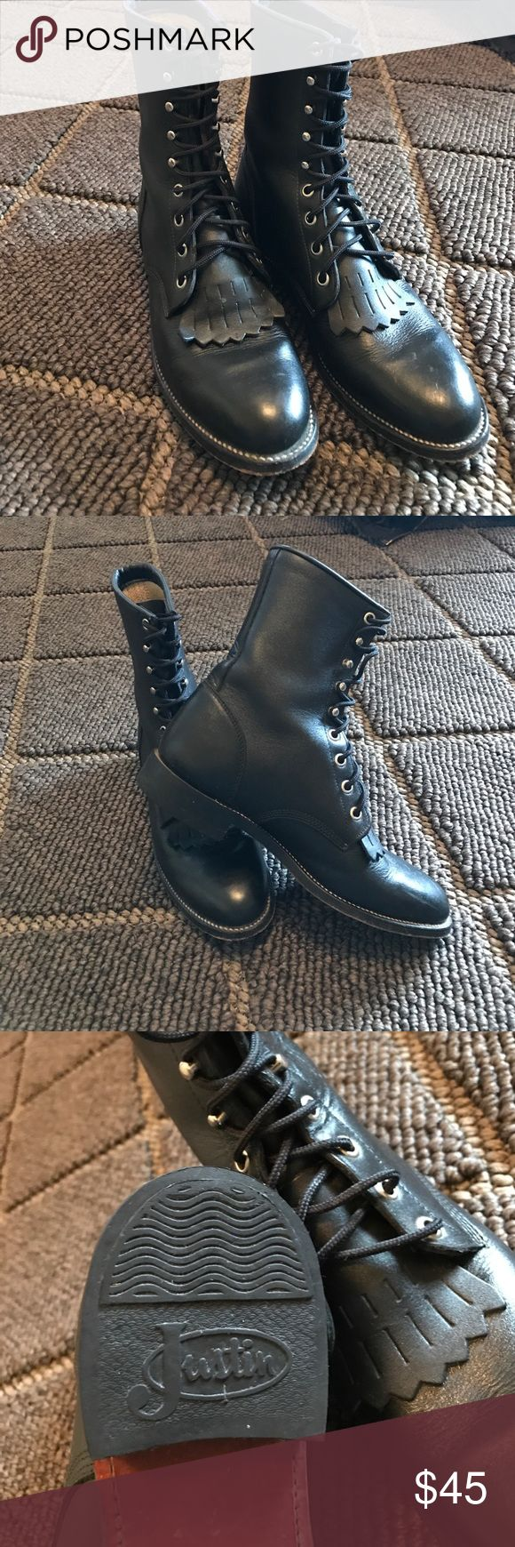 Justin Roper Boots Justin Roper Boots. Removable toe fringe. In excellent condition. Size 7B Justin Boots Shoes Lace Up Boots