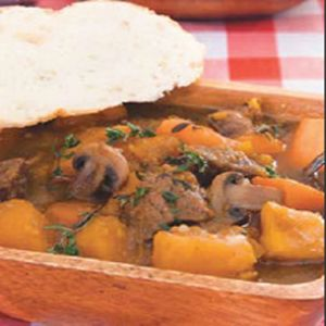 Beef and Root Vegetable Stew - Sometimes all you want to come home to is a delicious stew. This wonderful stew will keep your house full of savoury smells all day as it cooks in the slow cooker.