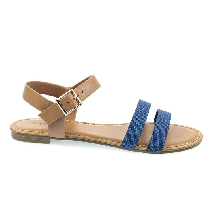 Inspire49M by Bamboo, Blue Denim Women Flat Sandal w Double Front Strap & Ankle Strap