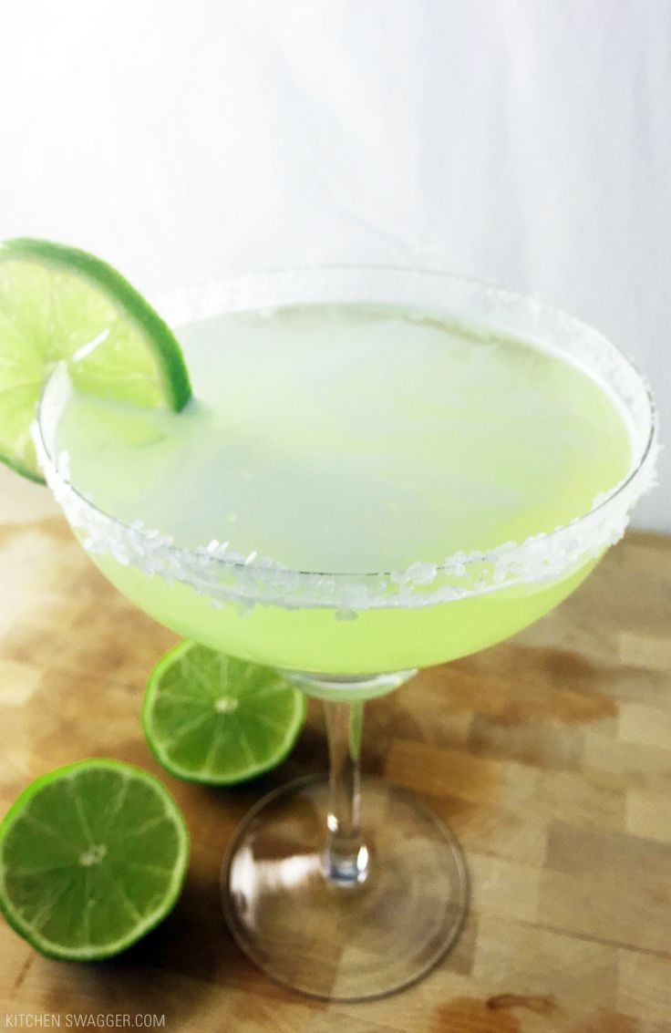 Delicious original margarita recipe on the rocks with silver tequila.