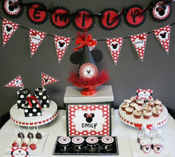 MInnie Mouse BIrthday Party Ideas Red and Black Polka dot
