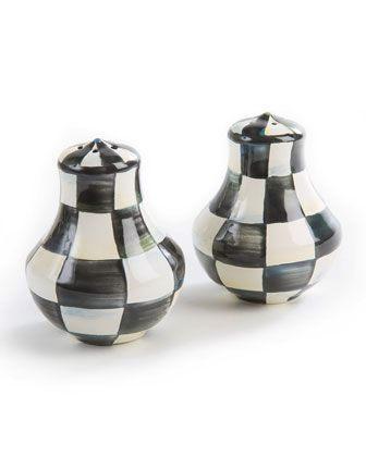 Courtly+Check+Enamel+Salt+&+Pepper+Shakers+by+MacKenzie-Childs+at+Neiman+Marcus.