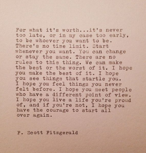 F. Scott Fitzgerald  Hand Typed Quote Made On by farmnflea on Etsy