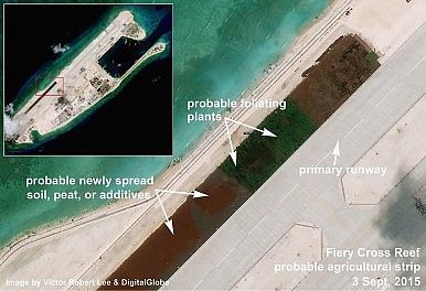 Airstrip details Fiery Cross Reef. Images from Victor Robert Lee. http://thediplomat.com/2015/09/south-china-sea-satellite-imagery-shows-chinas-buildup-on-fiery-cross-reef/