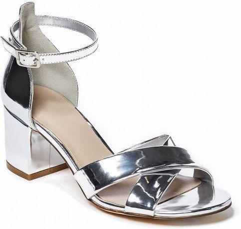 GUESS Jolie Crisscross Mid Heels - silver