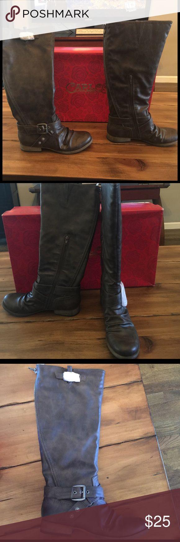 Carlos Santana Boots NWT brown under the knee boots Carlos Santana Shoes Heeled Boots