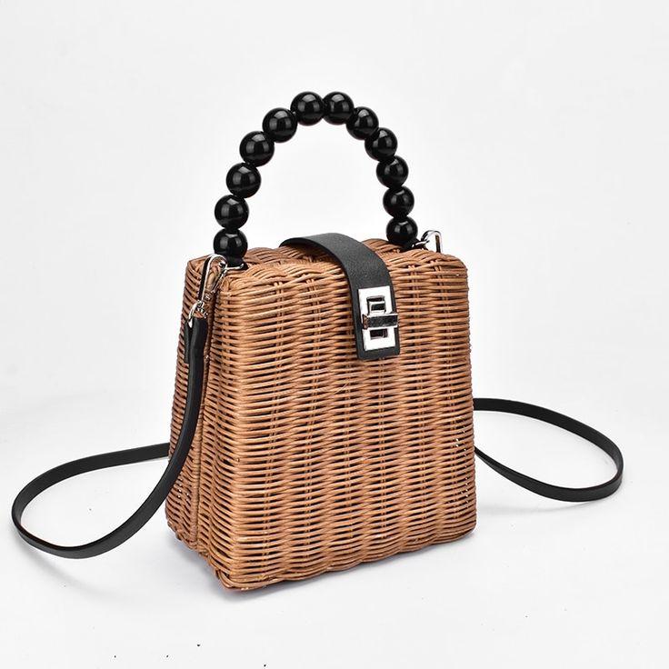 <b>2019</b> Brand Designer bead <b>hand</b>-<b>woven straw</b> bag <b>women</b> samll ...