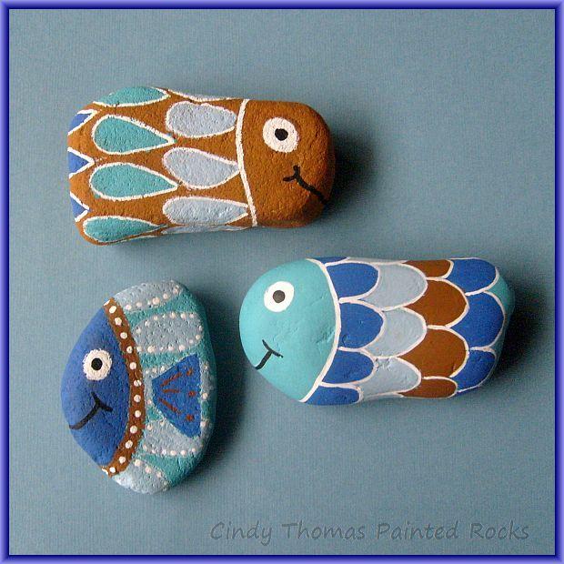 Happy Fish painted rocks