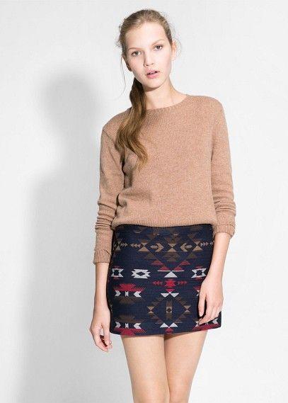 Minifalda jacquard étnica