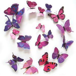 3D Kelebek Çıkartması Ve Mıknatıslı 12 Adet