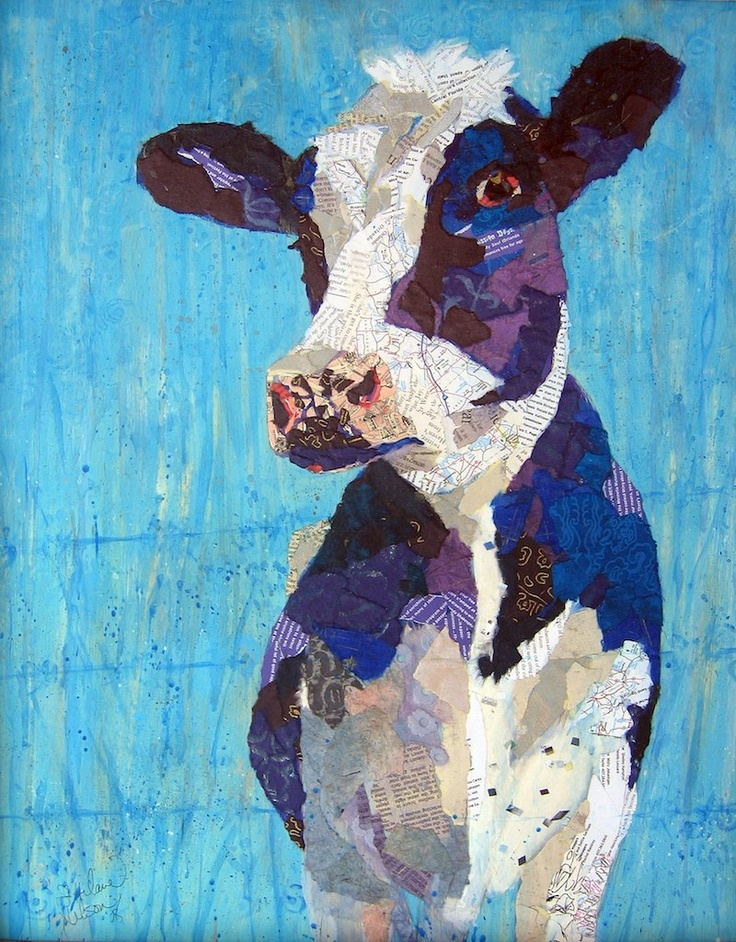 """""""Bloo Cow"""" by Artist, Elizabeth St. Hilaire Nelson...love her style!"""