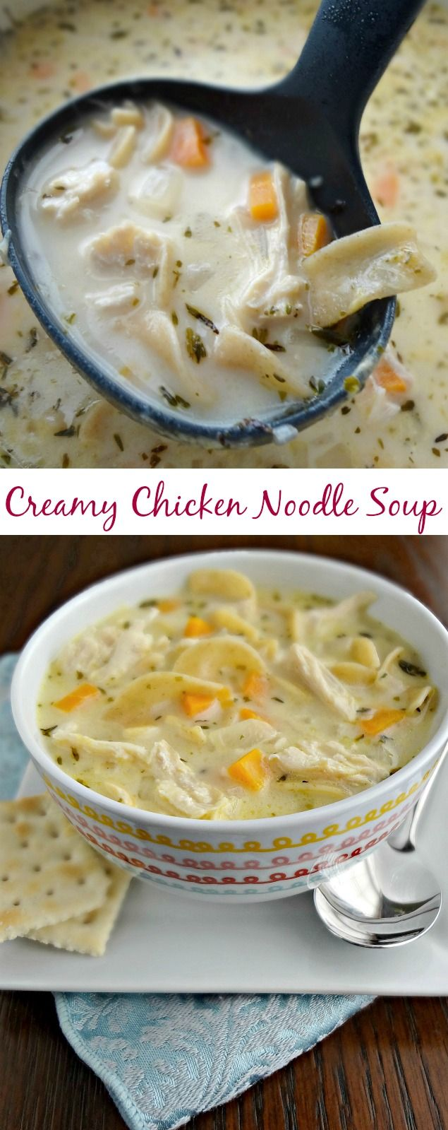 The Cooking Actress: Creamy Chicken Noodle Soup. A hearty, classic, comfort food recipe. Enjoy as an appetizer/starter, snack, or entree on a cold day!