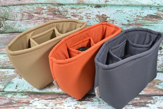 Camera bag insert for your DSLR & gear in Charcoal Grey, Burnt Orange or Khaki  by Darby Mack made in the USA