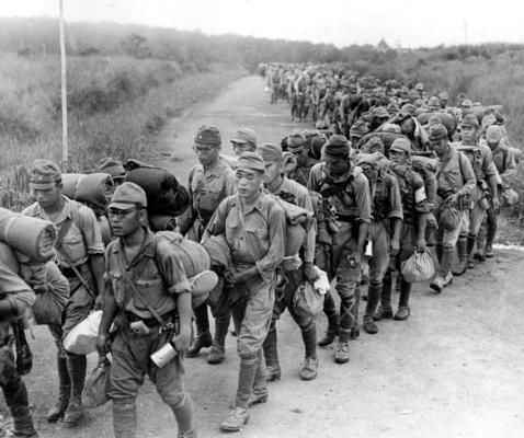 Japanese troops on the march in Northern Malaysia, pin by Paolo Marzioli