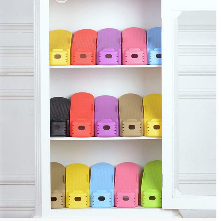 Venta caliente de La Moda De Zapatos De Plástico Ajustable Bastidores Rack de Almacenamiento de Doble Limpieza Salón Conveniente Caja de Zapatos Organizador Soporte