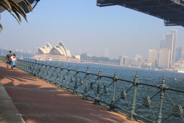 Smoke lingers over the Sydney Opera  House