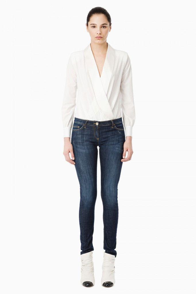 Jeans donna aderente, collezione Elisabetta Franchi AI2015, in denim stretch, vita regolare, taglie 25,26,27,28,29,30,31,32, colore blue vintage, 5 tasche