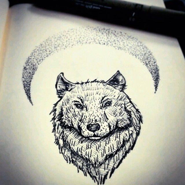 """Desenho incrível do <a href=""""http://instagram.com/false_shepherd"""">@false_shepherd</a>  Para os povos indígenas, o lobo é o mais fiel dos guias animais, o símbolo do professor da tribo, encorajando-nos a enfrentar novas idéias e projetos. O lobo é um explorador de rotas, precursor de novas idéias que volta para tribo para ensinar e compartilhar a medicina. O senso do lobo é muito aguçado e a lua é sua aliada de força. A Lua é símbolo da energia psíquica ou o inconsciente que segura os ..."""