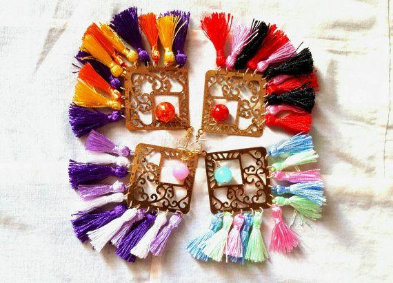 Big ethnic earrings with  tassels  / gold by KaterinakiJewelry