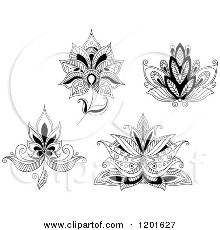 Clipart of Black and White Henna Flowers 2 - Royalty Free Vector Illustration by…