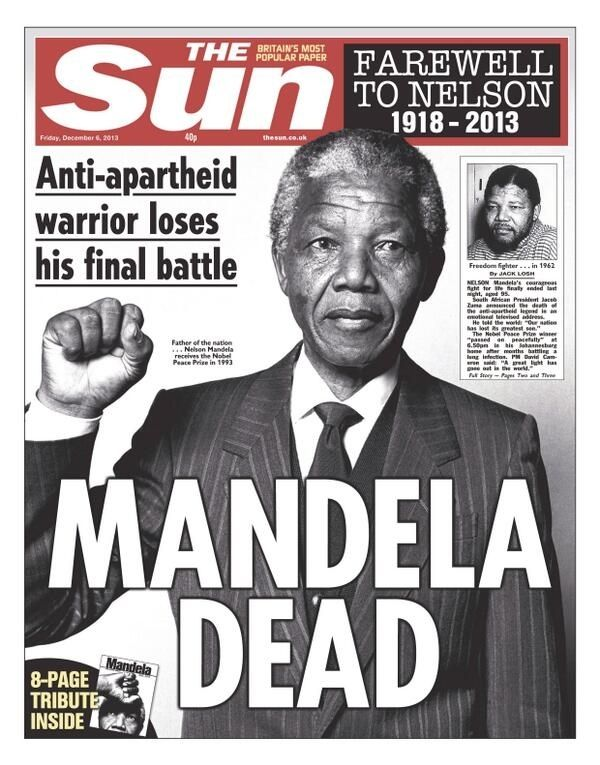 Nelson Mandela's Death, The Sun