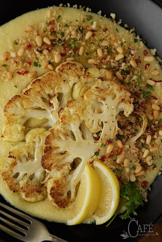 Roasted Cauliflower Steaks with Parmesan Polenta and Lemon Parsley Panko Crumbs - my meat loving husband said this one of his favorite meals, ever!