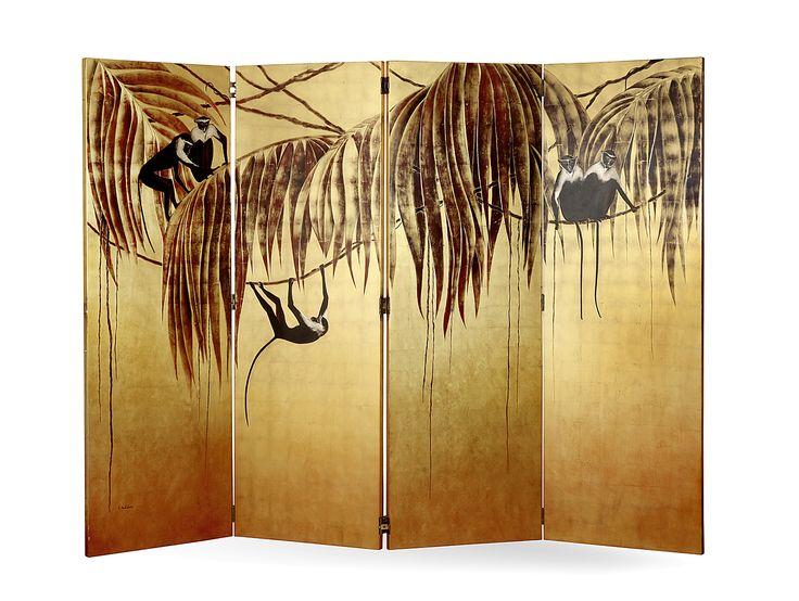 Vente Art Déco le mardi 24 novembre PAUL-ÉTIENNE SAÏN (1904-1995) Exceptionnel paravent à quatre feuilles, circa 1930, représentant une colonie de colobes jouant dans des lianes  HAUT. 180 CM - LARG. D'UNE FEUILLE : 60 CM - LARG. TOTALE : 240 CM An exceptional folding screen with four panels, circa 1930, in Duco and golden lacquer. Estimation : 20 000/30 000 € #SAÏN #Paravent #Auction #ArtDeco