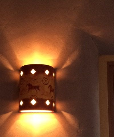 Petroglyph Pony Ceramic indoor Wall sconce made to order in NM USA - pinned by pin4etsy.com