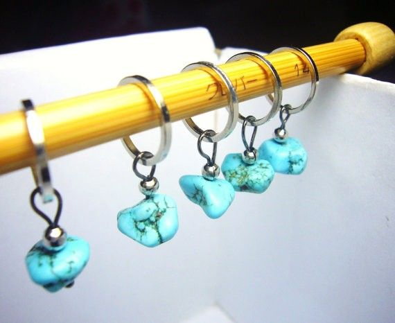 Knitting Supplies Singapore : Blue stone stitch markers knitting accessories snagless