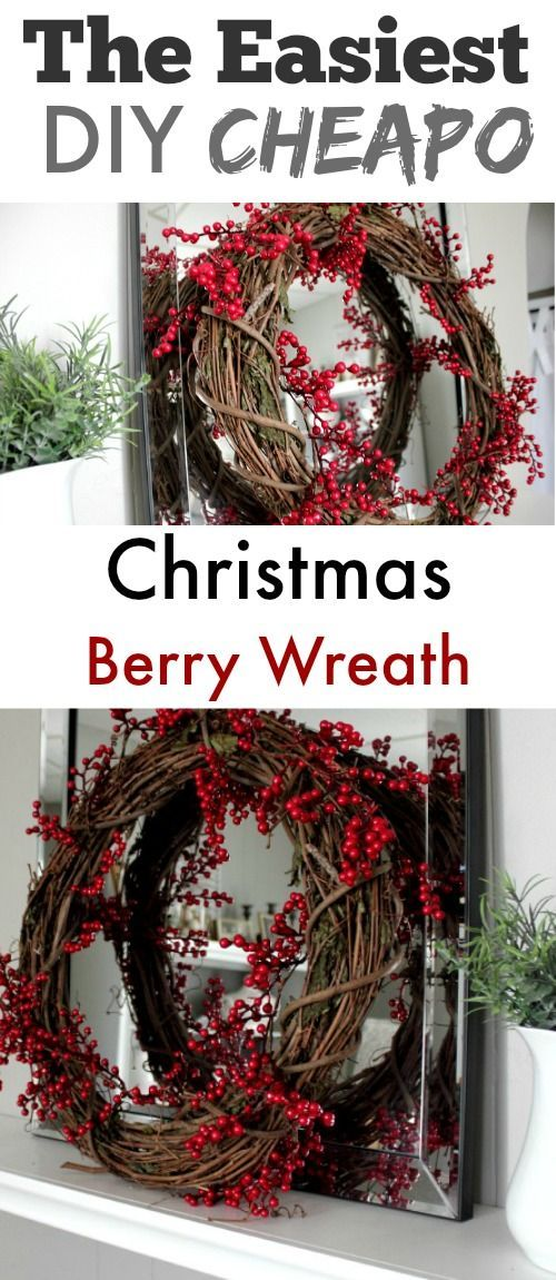Make this DIY Christmas berry wreath in 2 minutes flat for only a few bucks!
