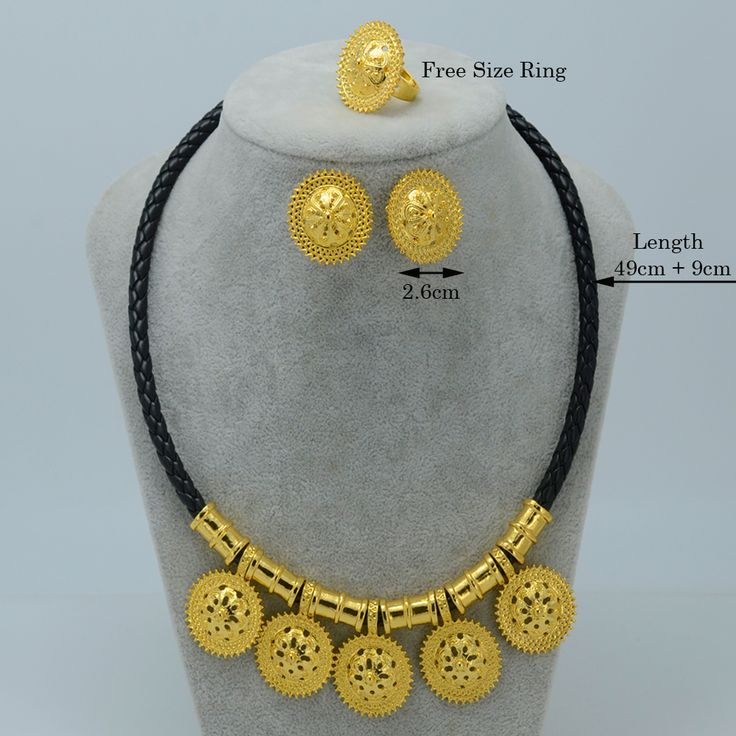 New Ethiopian Jewelry sets Silver/Gold Plated Eritrea Tradition Necklace Earrings Ring Ethiopian Enkutatash Gifts #020806