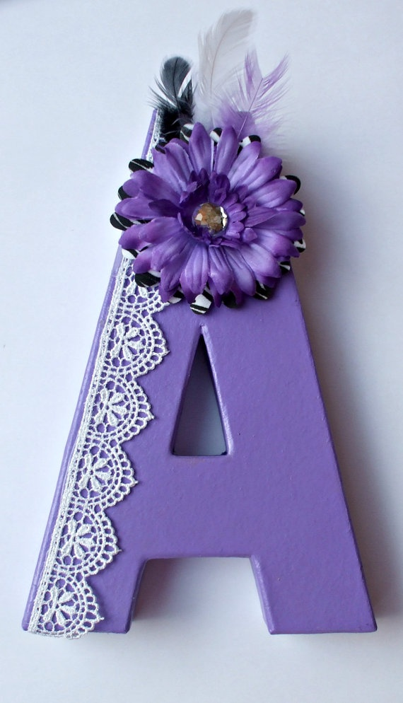 Letter A Painted Dorm Room Girl's Bedroom by HillTopDesignsToo, $12.00