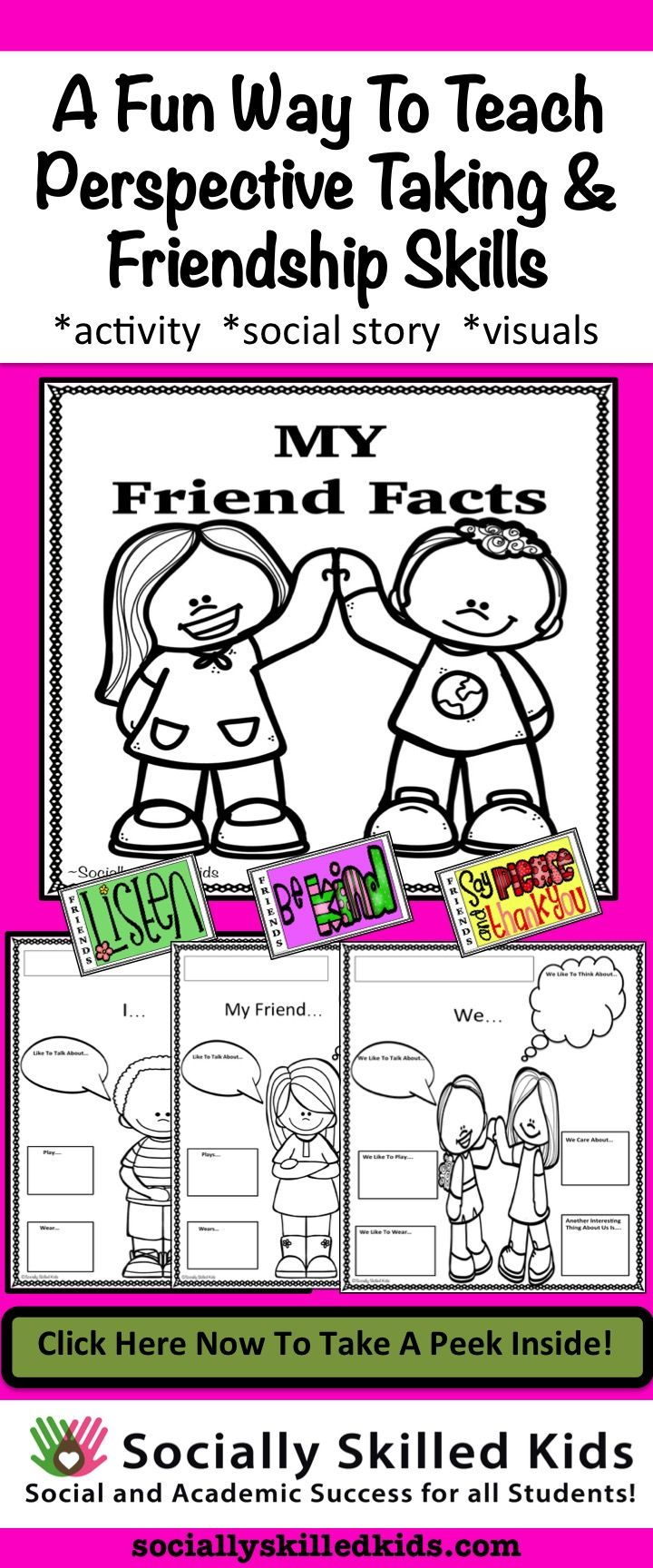 Learning to think about others is a great way to improve friendships. This fun friendship activity, social story and visuals will help your students improve their ability to think about their friends.