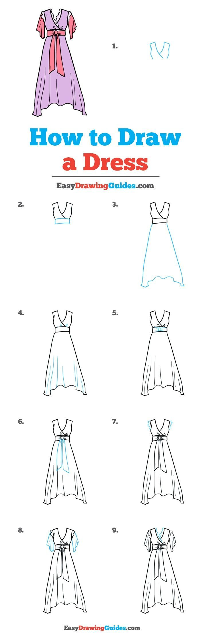 how to draw a dress step by step