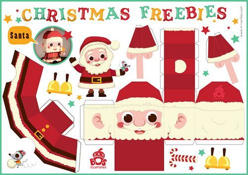 Santa Claus and Reindeer Free Printable DIY Christmas Paper Crafts - Cute · Kawaii | Blog everything kawaii cute