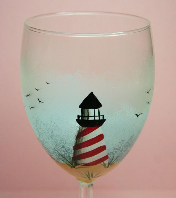 hand painted wine glass - lighthouse