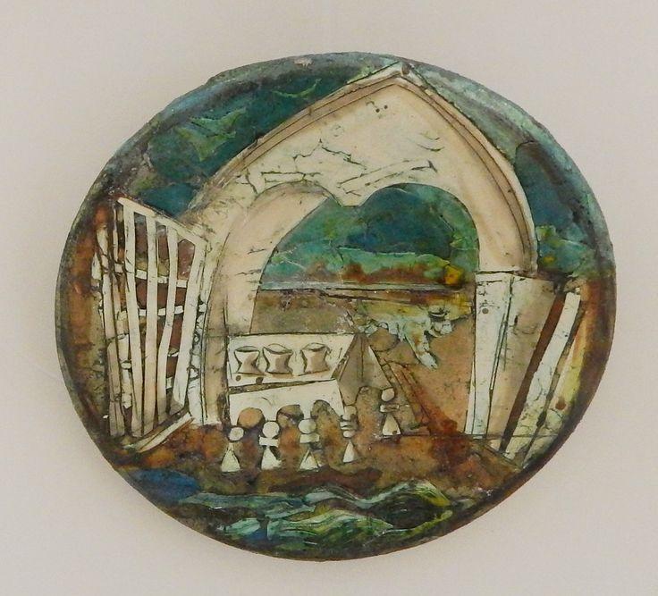 Червяков А.Д. Декор. тарелка «Троицкая обитель» D28 см шамот, цв. массы, глазурь