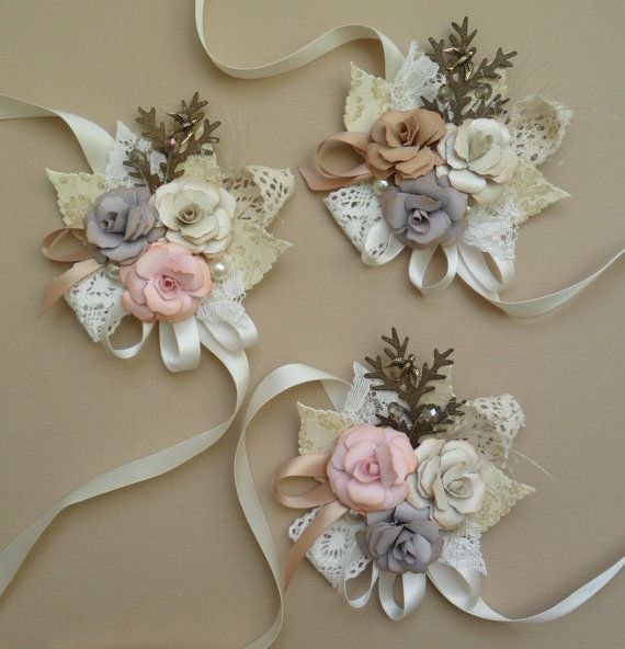 Vintage /Antique inspired corsage  can be made in by ericacavanagh, $25.00  Wrist corsage idea for House Party Girls