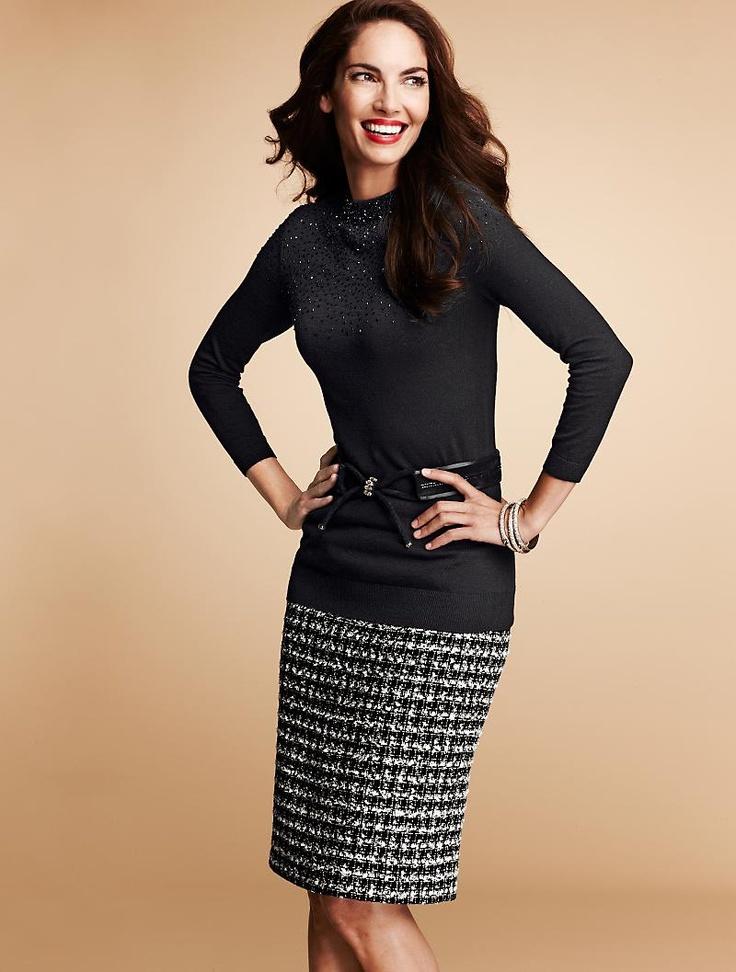 check tweed pencil skirt black crewneck sweater