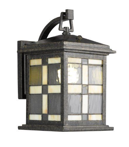 Woodbridge Lighting 61100RST Tiffany Outdoor 1-Light Wall Sconce, 7-Inch by 12-Inch by 9-Inch, Rust by Woodbridge Lighting. $79.90. From the Manufacturer                Add style and enhance your home and garden with this Tiffany outdoor wall light. The combination of the photocell sensor and low wattage compact fluorescent bulb provides for maximum energy savings.                                    Product Description                61100RST Features: -One light outdoor wall sc...