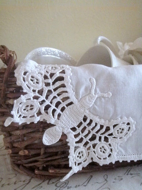 vintage linen with crocheted bee lace