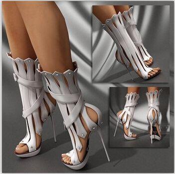 Новая Мода Гладиатор Женщины Сандалии Сапоги с Открытым Носком Вырезами Ультра Стилет Высокий Каблук Женская Обувь