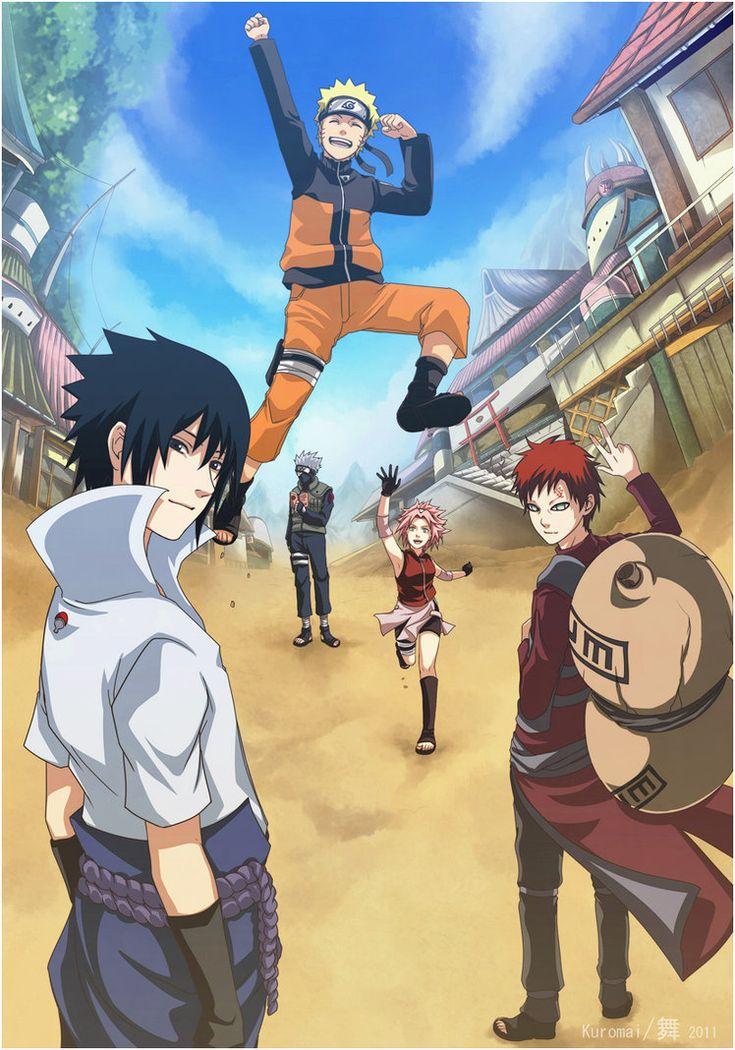 Naruto, Sasuke, Kakashi, Sakura, and Gaara