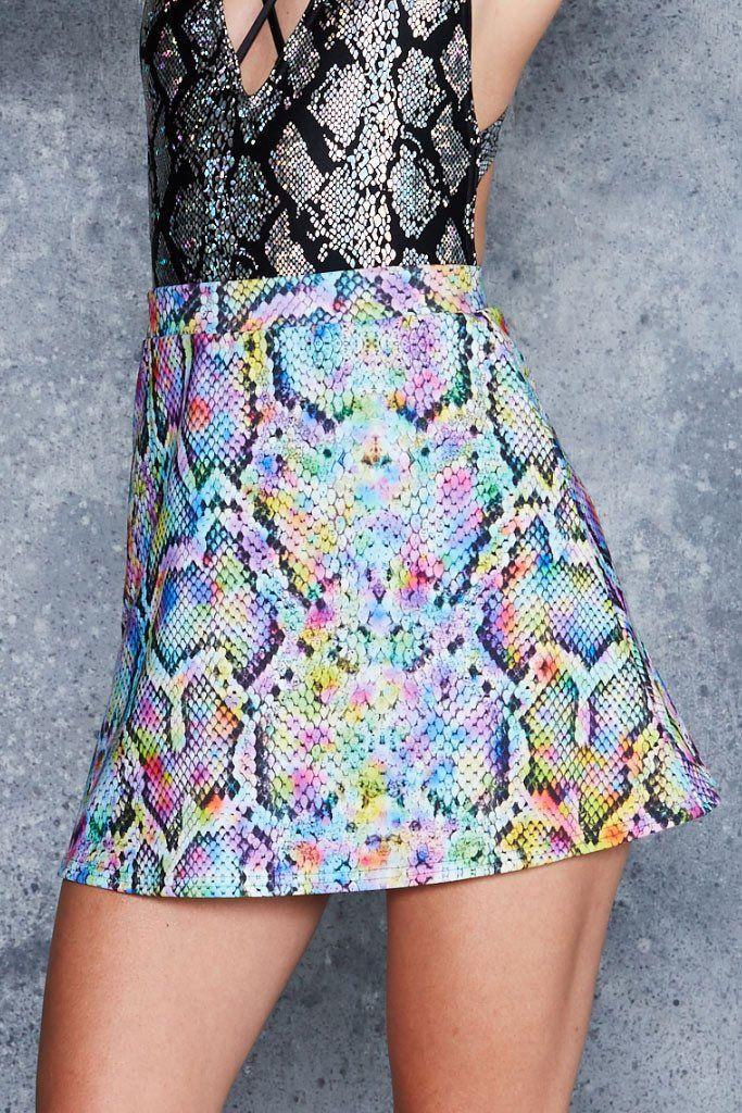 Rainbow Serpent A Line Skirt (48HR)