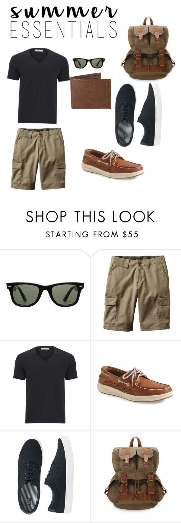 """beach boardwalk"" by sollangex ❤ liked on Polyvore featuring Ray-Ban, Banana Republic, Versace, Sperry, Uniqlo, Levi's, men's fashion, menswear and summermenswearessentials"