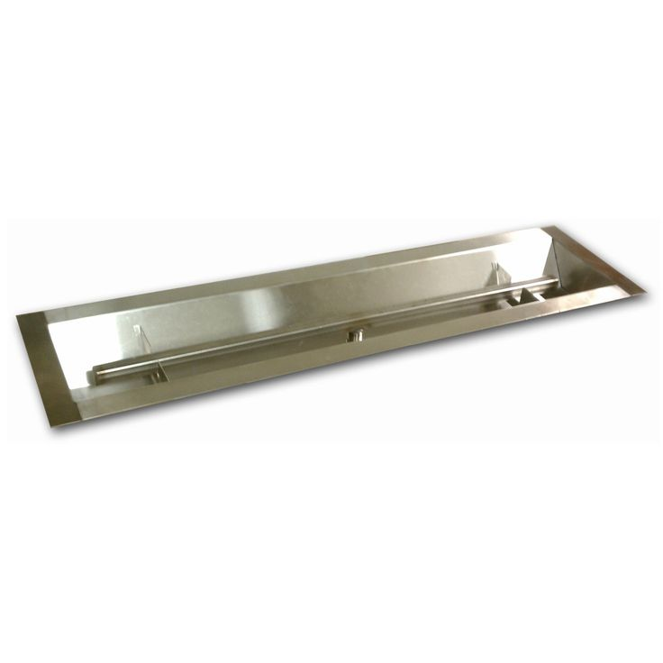American Fireglass Stainless Steel Linear Channel Drop In Fire Pit Pan with T-Burner - SS-LCB-30